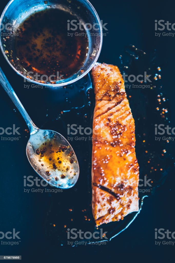 Honey Mustard Salmon Fillet stock photo