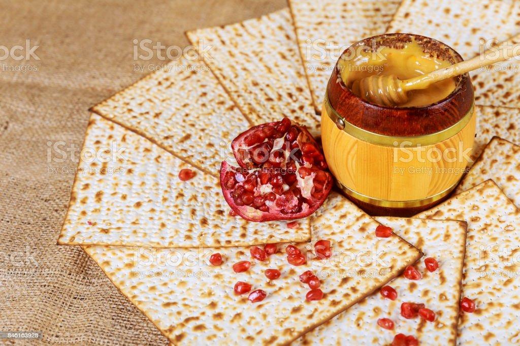 honey pomegranate for traditional holiday symbols rosh hashanah jewesh holiday stock photo