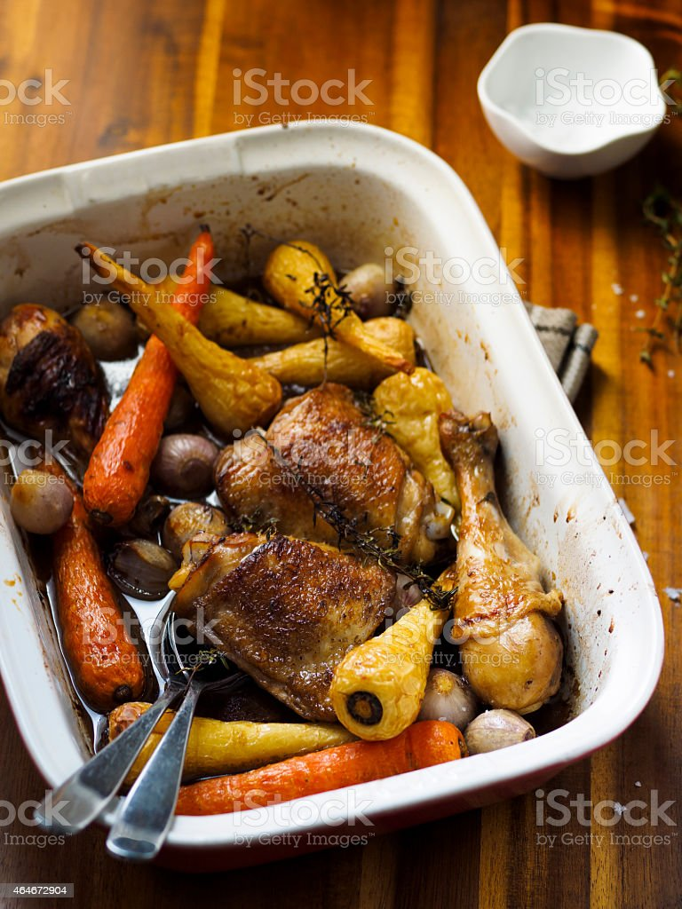 Honey roasted chicken and vegetable stock photo