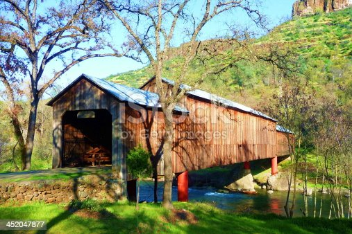 Honey Run Covered Bridge in Chico, California. It is the only triple-span covered bridge in the U.S.