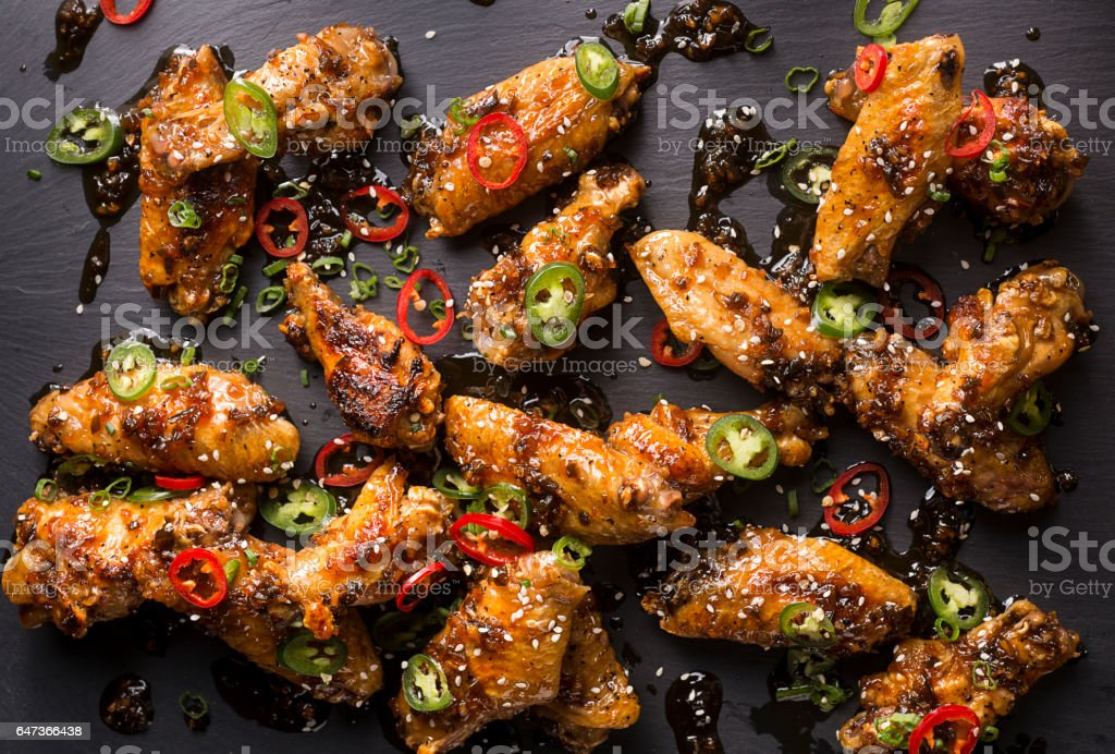 Honey Serrano Chicken Wings stock photo