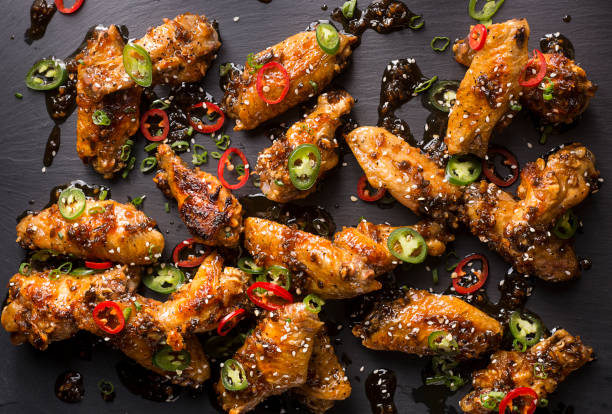 Honey Serrano Chicken Wings stock photo