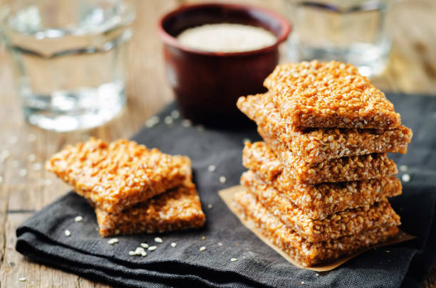 honey sesame seed bars - sesame stock photos and pictures
