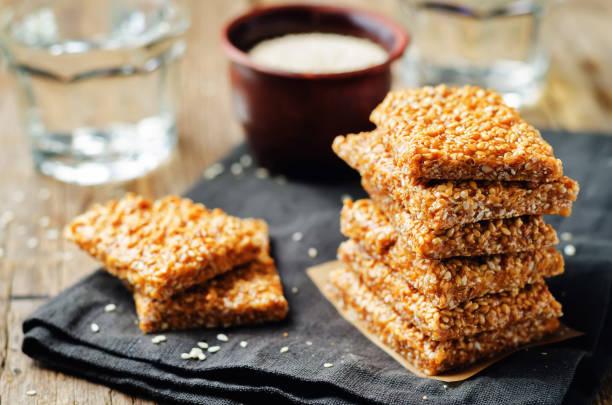 Honey sesame seed bars stock photo