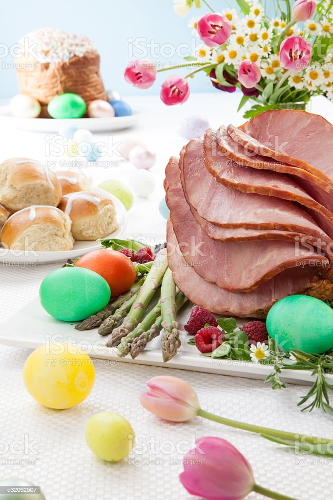 Honey Sliced Ham For Easter stock photo