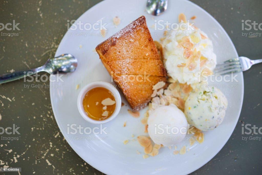 Honey toast, top view - Sweet dessert food royalty-free stock photo