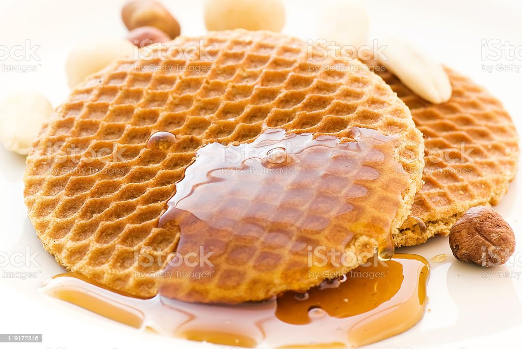 Honey Waffle with Nuts royalty-free stock photo