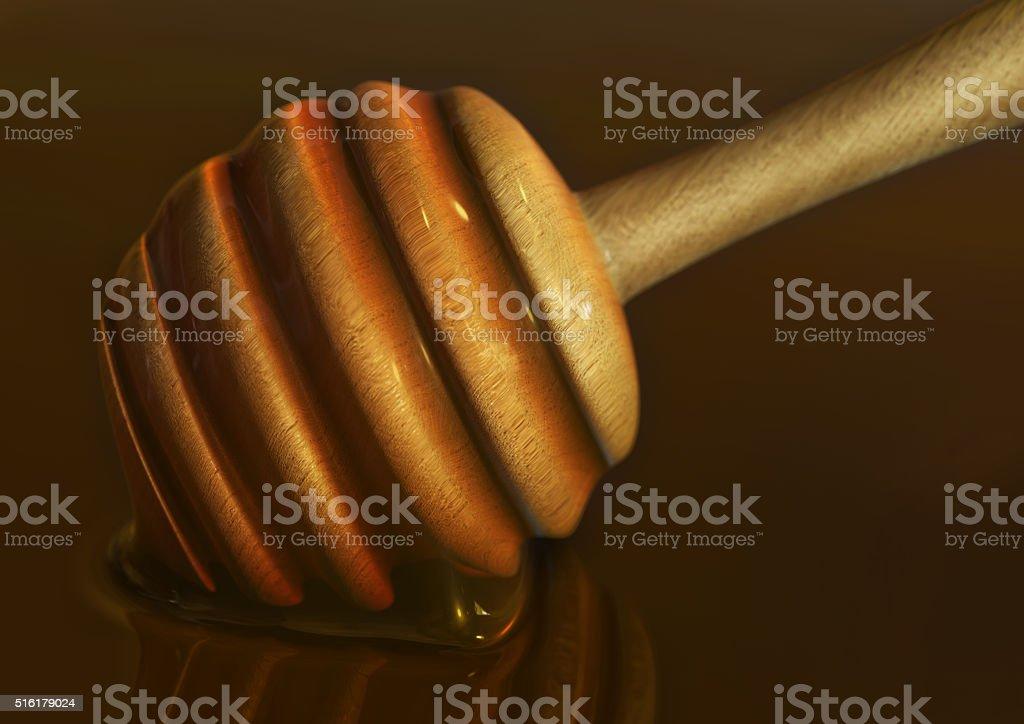 honey wand or dipper in honey stock photo
