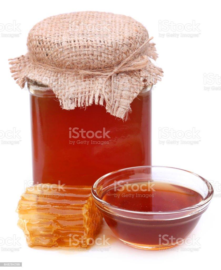 Honey with beehive stock photo