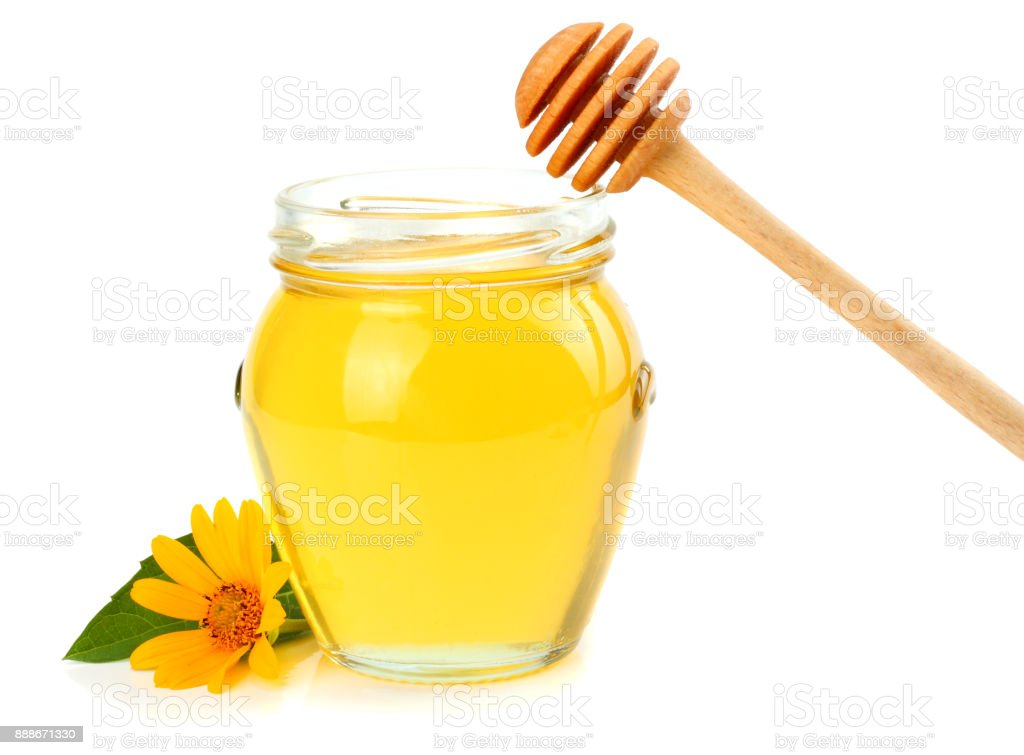 honey with honey dipper isolated on white background stock photo