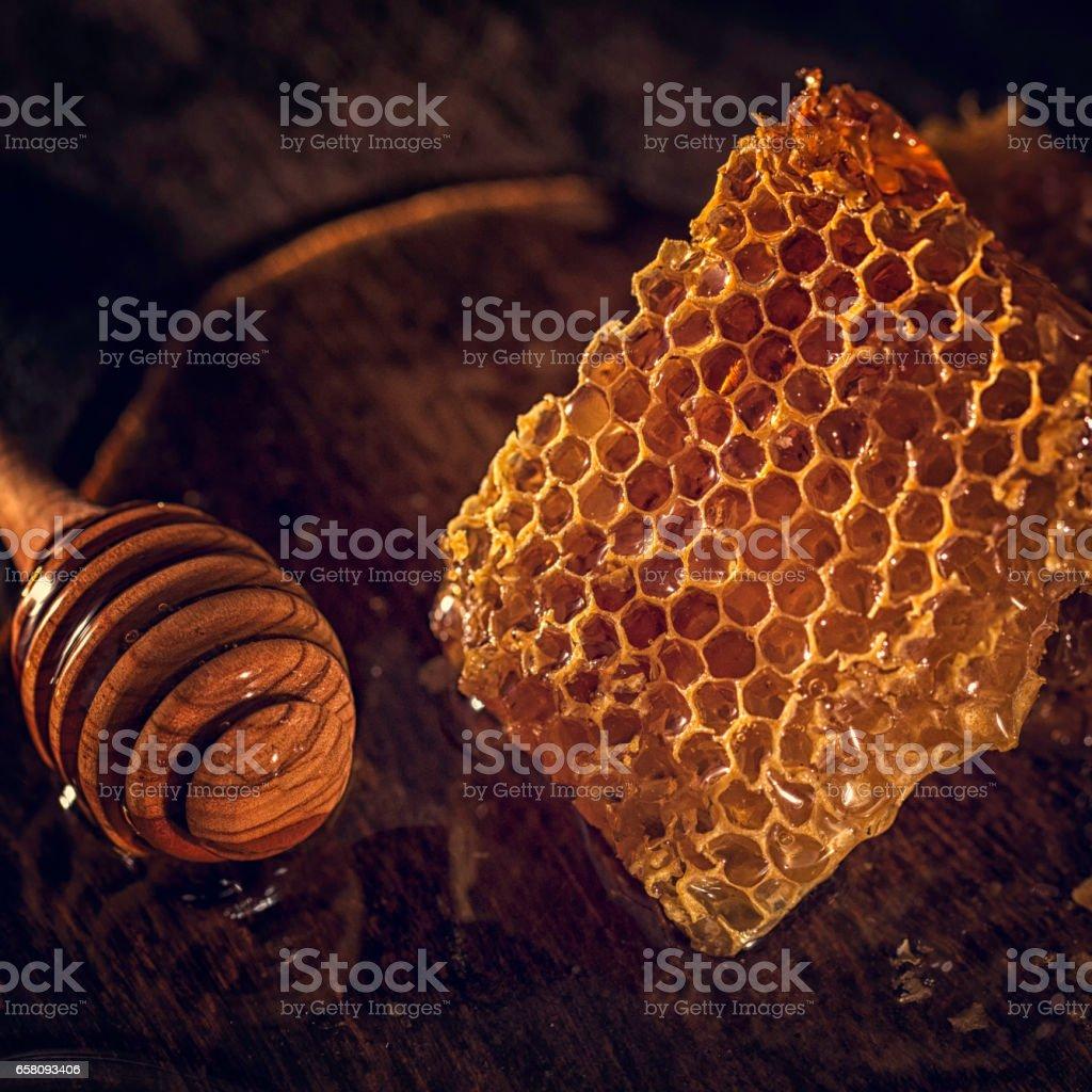 Honey with Honeycombs royalty-free stock photo