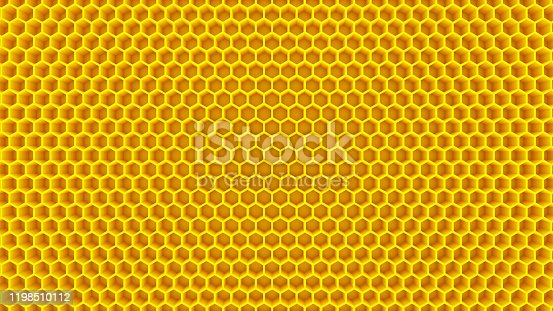 honey yellow cells honeycomb beehive hexagon background 3D illustration