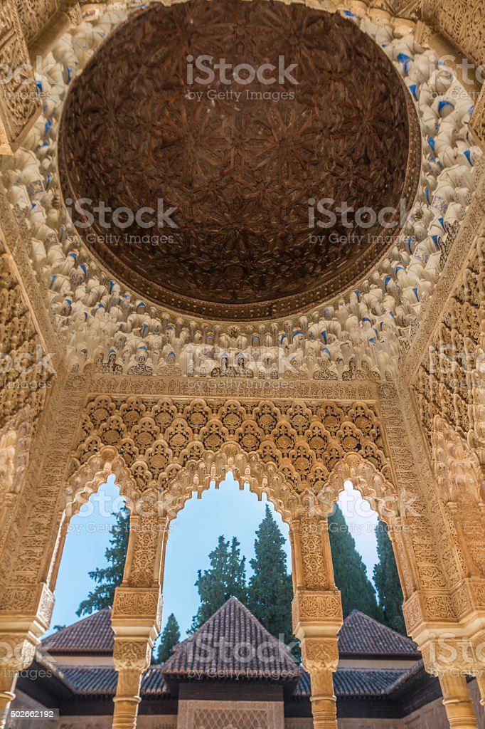 Honeycomb Ceiling of Alhambra Palace stock photo