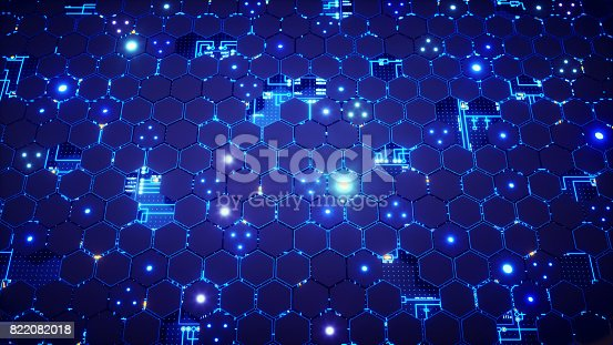 A futuristic looking design of a honeycomb surface with many different lights, overlaid on a circuitry. The image represents an abstract design in the domain of software, engineering, nanotechnology, artificial intelligence or similar advanced technology. This image is a made up 3D concept render.