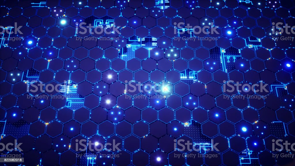 Honeycomb Circuitry Surface stock photo