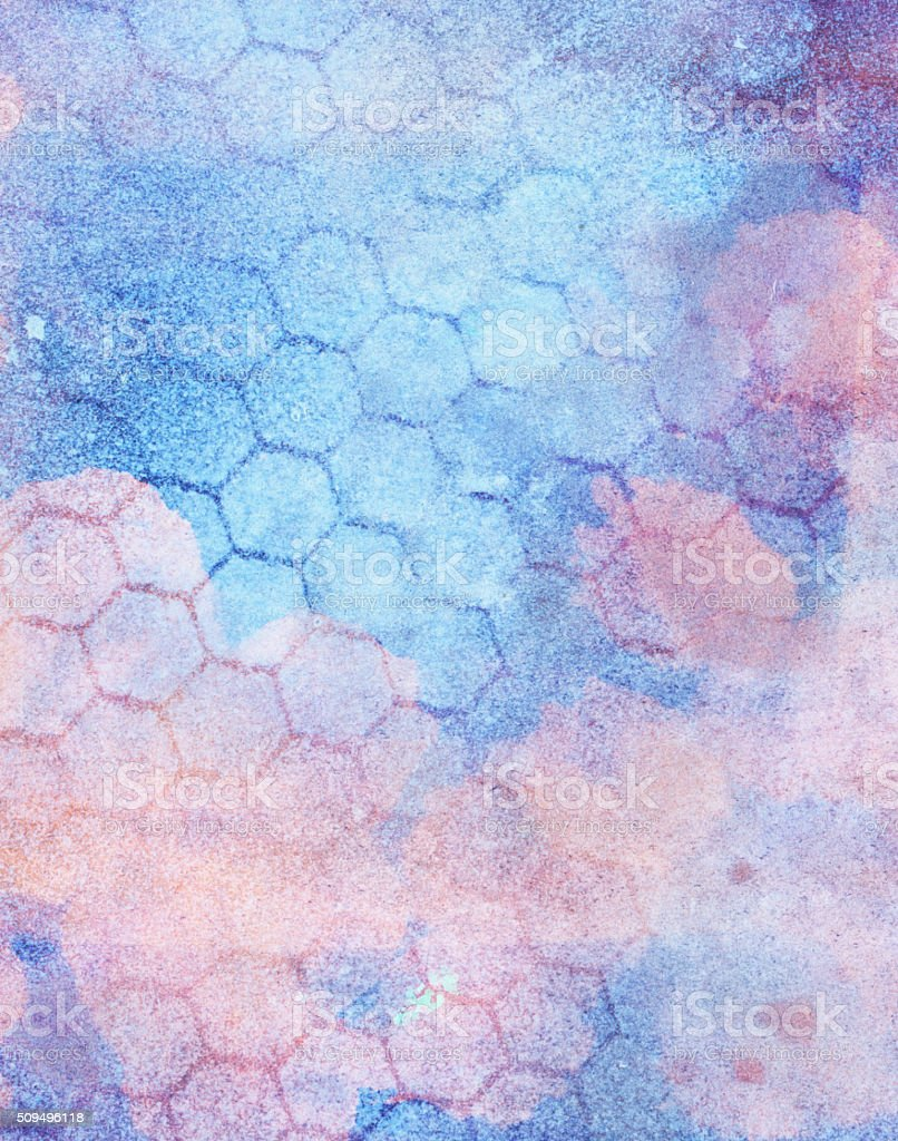Honeycomb hexagon pattern over various textures and pastel colors stock photo