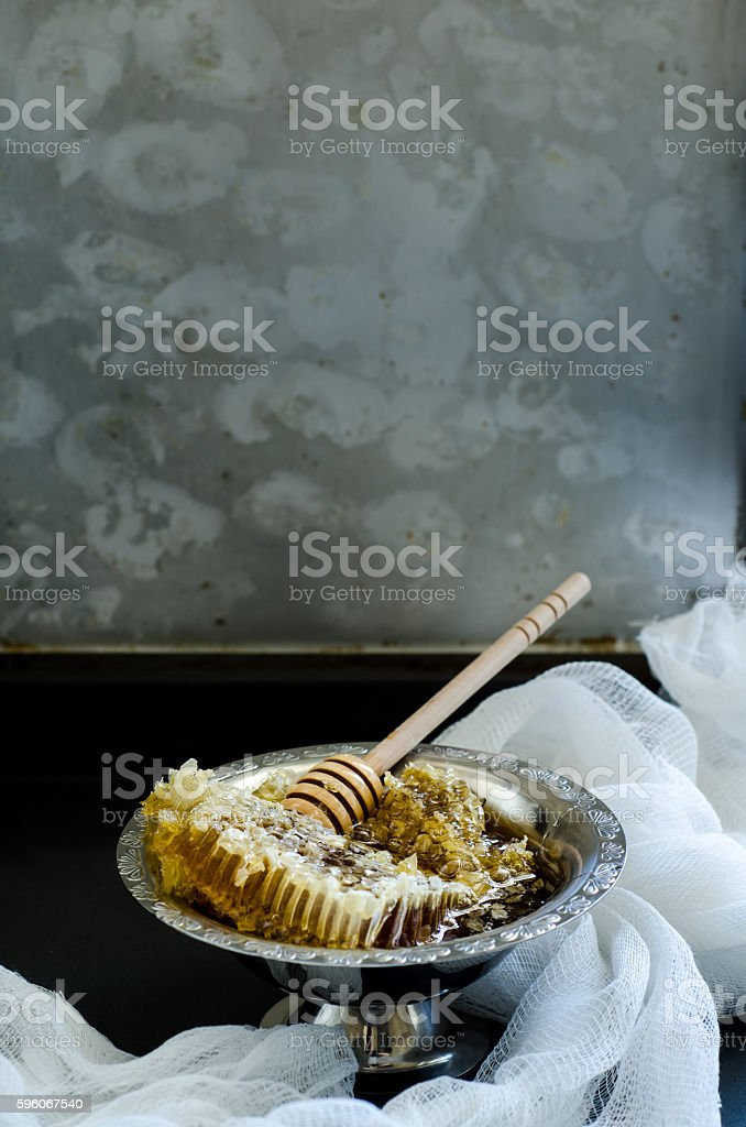 honeycomb in a vintage bowl royalty-free stock photo