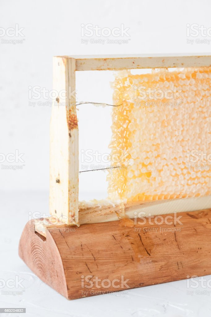 Honeycomb in wooden frame close view foto de stock royalty-free