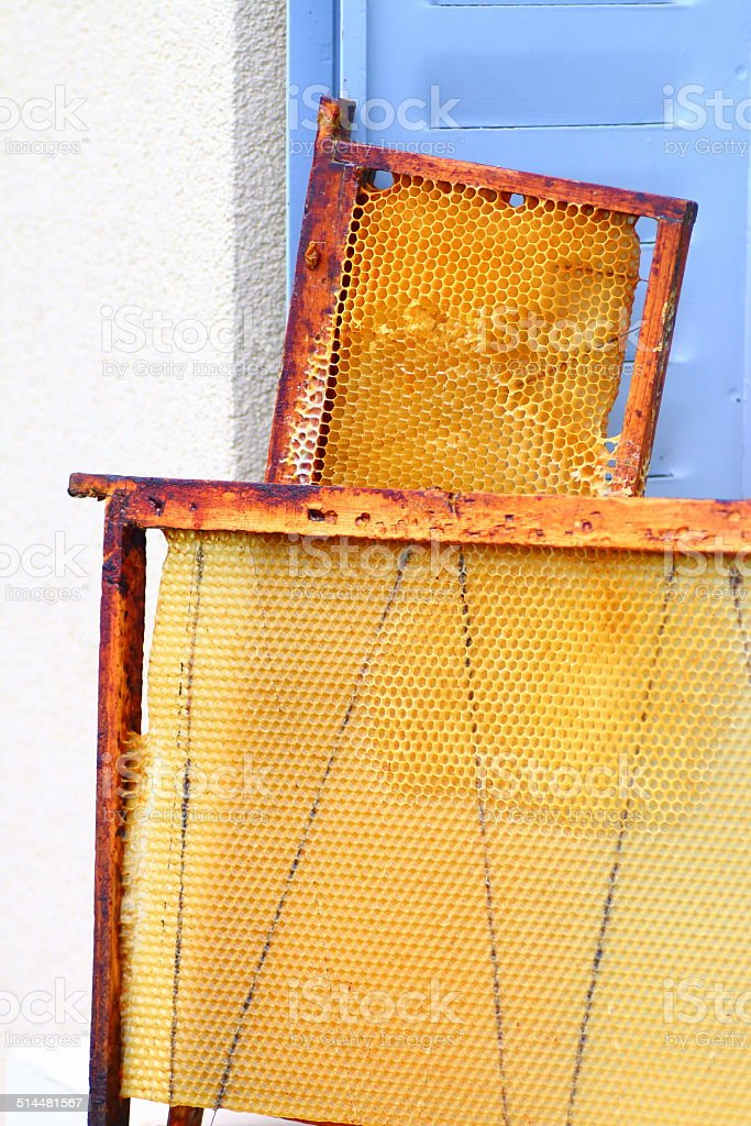 Vertical composition photography of honeycomb wooden frame from...