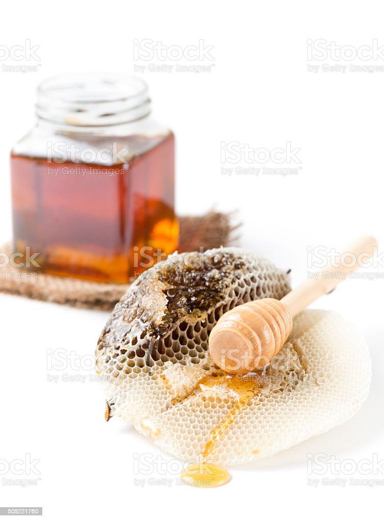 honeycomb on beehive isolated stock photo