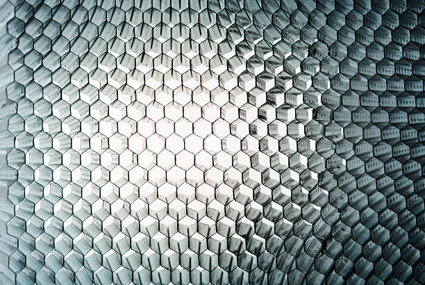 honeycomb panel close-up, abstract texture with light - 蜂巢式樣 個照片及圖片檔