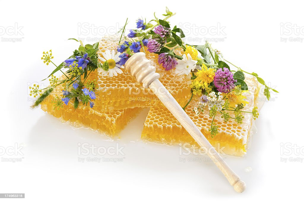 honeycomb pieces with flowers royalty-free stock photo