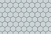 Honeycomb shaped hexagonal ceramic tile background in light blue or offwhite.