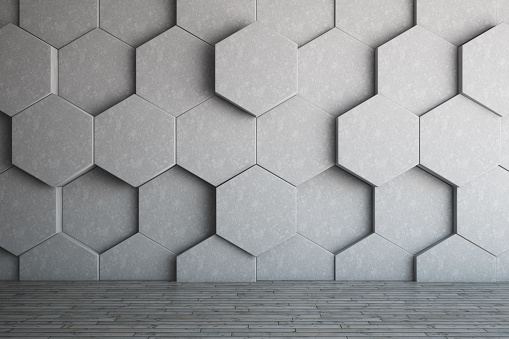 Empty place with a honeycomb shaped wall