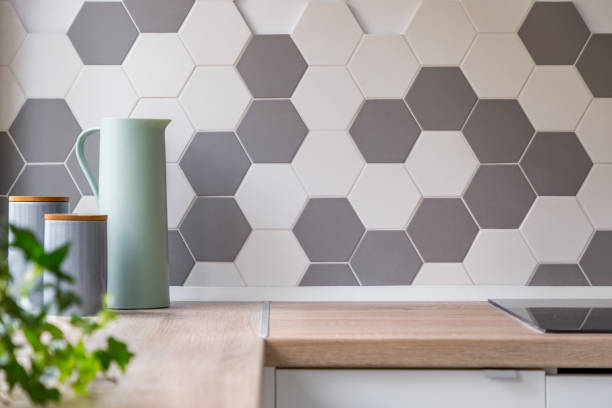 honeycomb wall tiles and worktop - tile stock photos and pictures