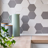 Honeycomb wall tiles in kitchen