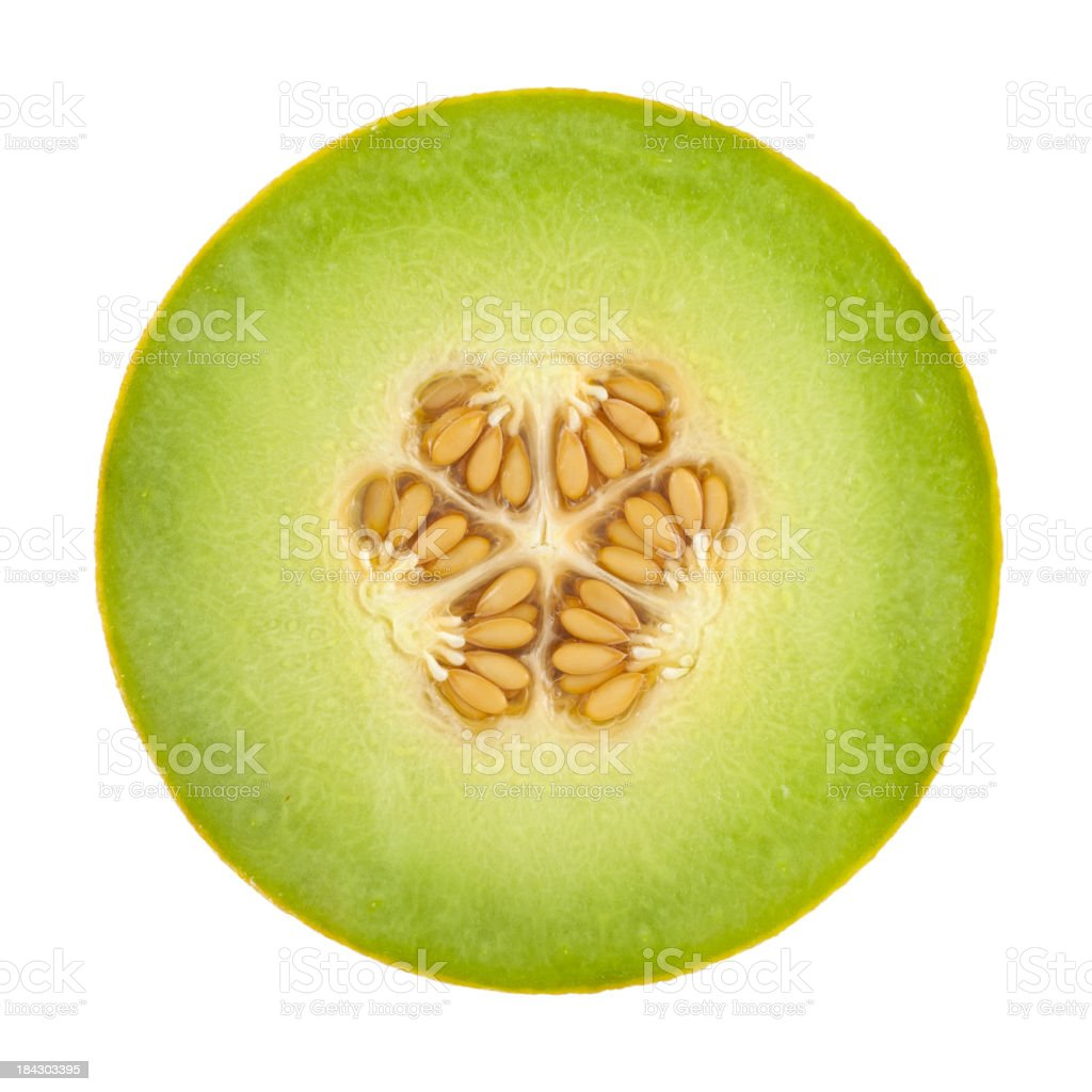 Honeydew Melon Cross Section On White stock photo