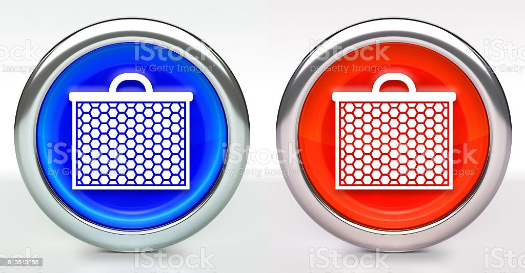 HoneyHair Comb Icon on Button with Metallic Rim stock photo