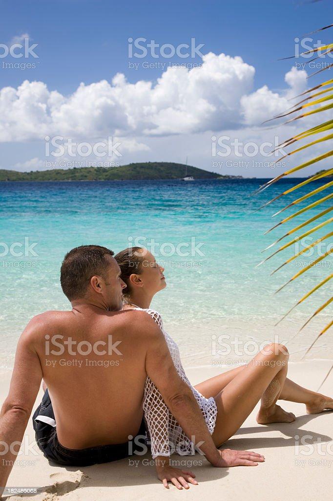 honeymoon couple on the Caribbean beach royalty-free stock photo