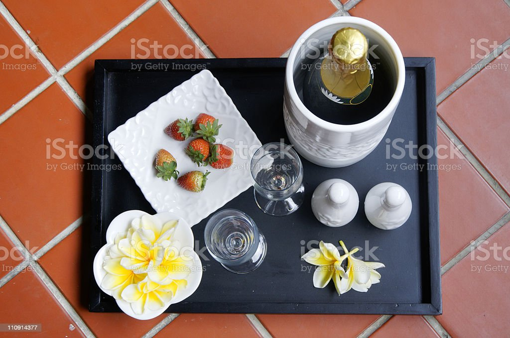 Honeymoon-Present in Luxury Hotel from above royalty-free stock photo