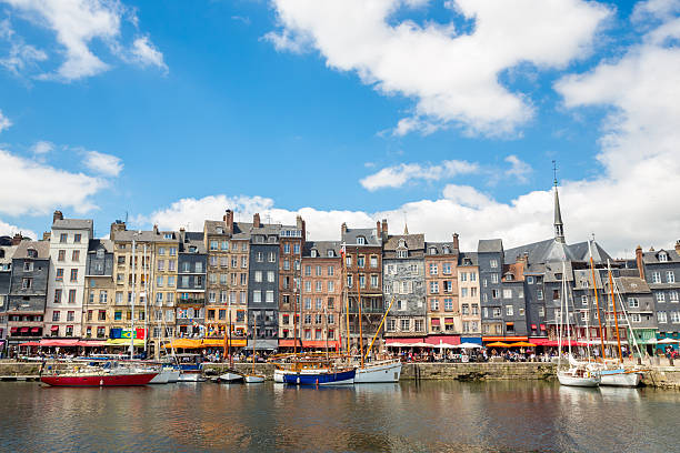 Honfleur downtown Honfleur downtown in Normandy France le havre stock pictures, royalty-free photos & images