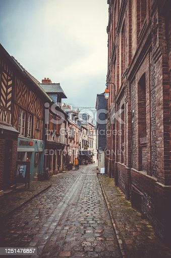 Honfleur/France - October 24, 2017 - City old street in Normandy