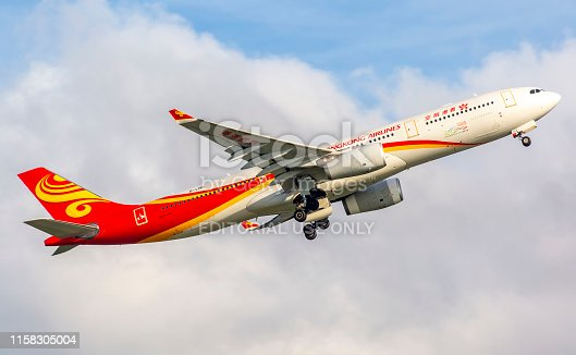 This image is of a Hong Kong airlines Airbus A330 departing Hong Kong international airport. Hong Kong Airlines is an airline based in Hong Kong, with its headquarters in the Tung Chung district and its main hub at Hong Kong International Airport. It was established in 2006 as a member of the HNA Group.