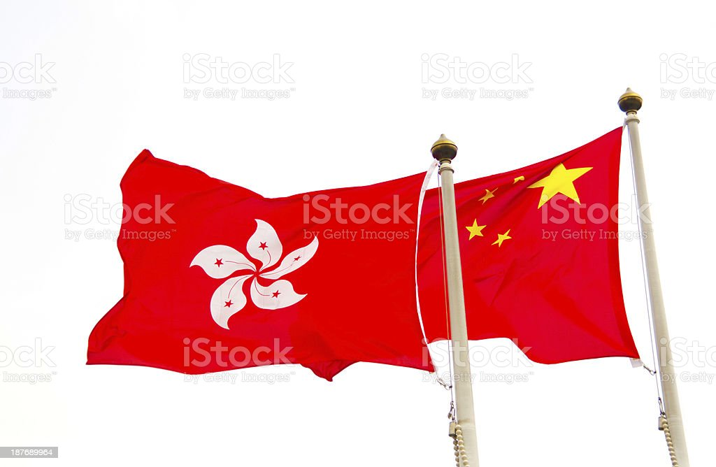 Hong Kong and China Flag with White Background royalty-free stock photo