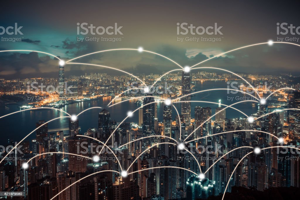 Hong kong and connection concept stock photo