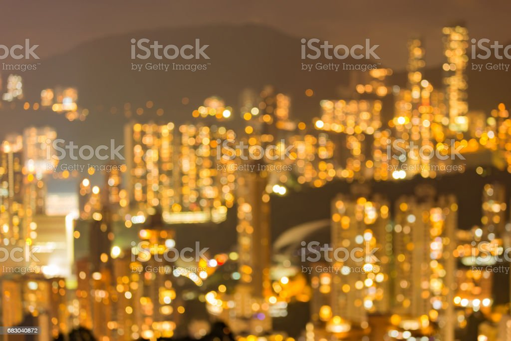 Hong Kong apartment blurred bokeh light on high hill foto de stock royalty-free