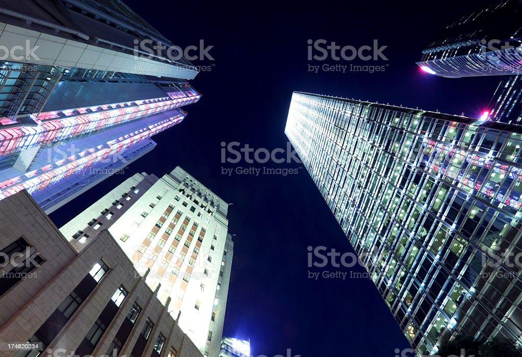 Hong Kong architecture at night royalty-free stock photo