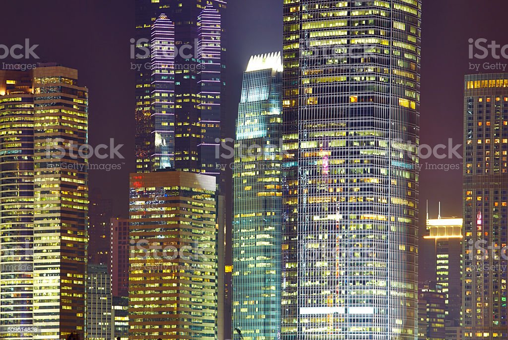 Hong Kong Architecture By Night stock photo