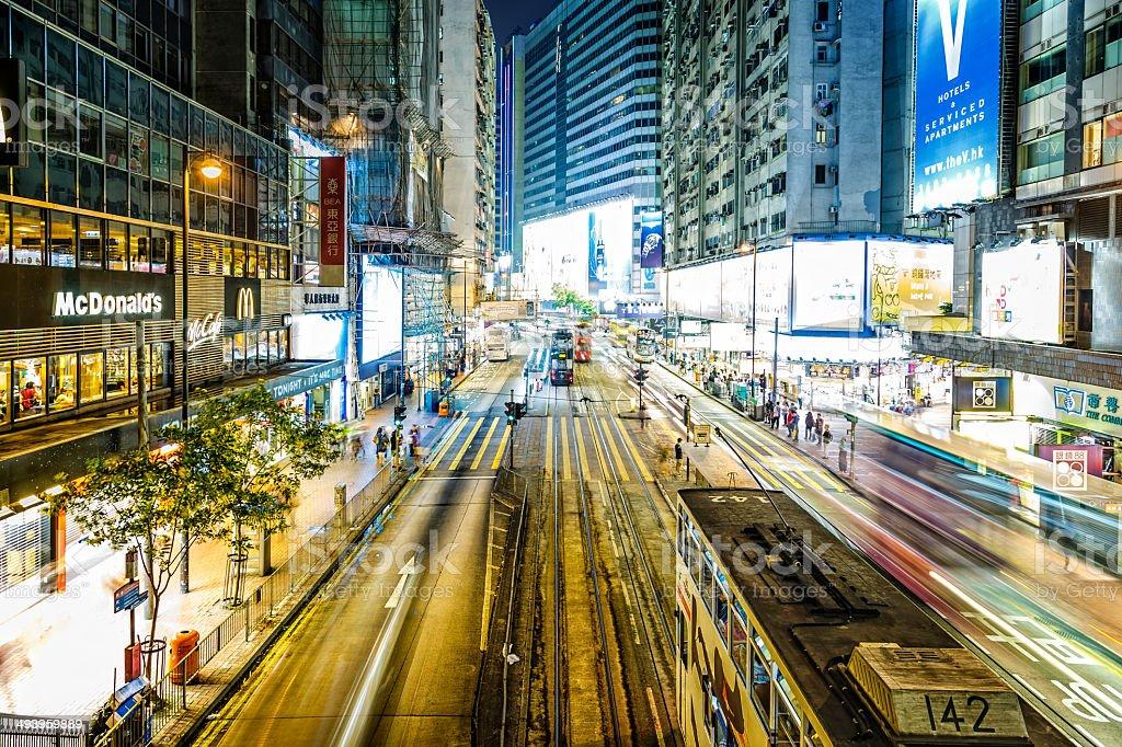 Hong Kong at night, Causeway Bay stock photo