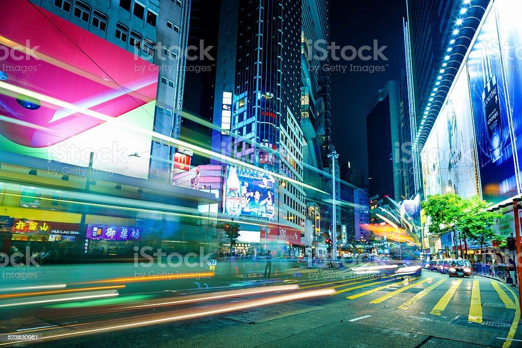 Hong Kong at night, Hennessy Road stock photo