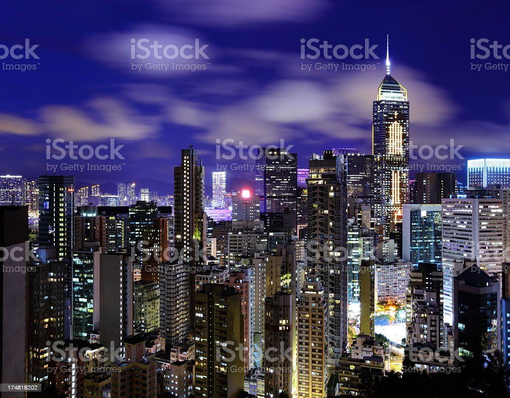 hong kong at night royalty-free stock photo