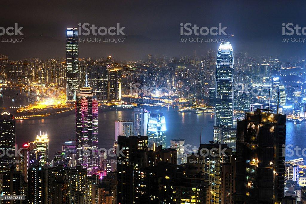 Hong Kong at Night stock photo