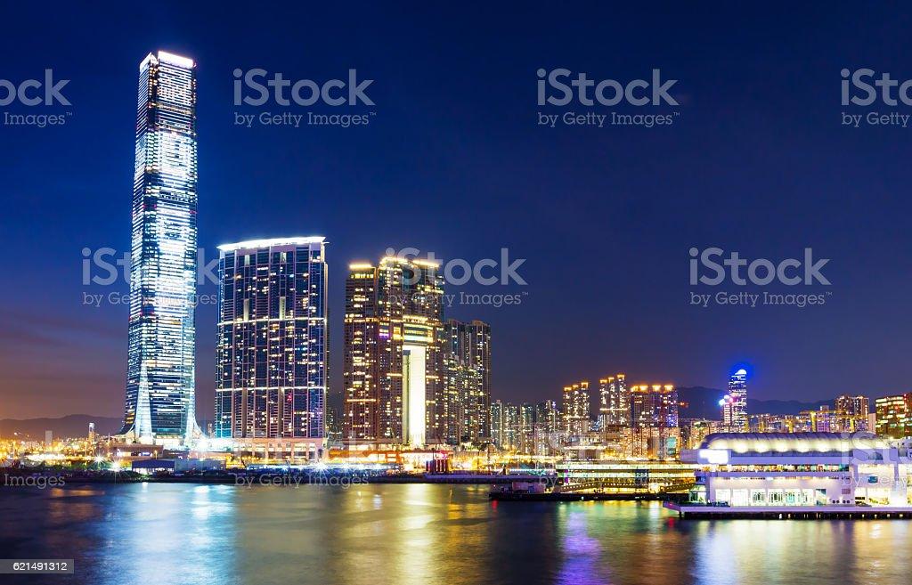 Hong Kong di notte  foto stock royalty-free