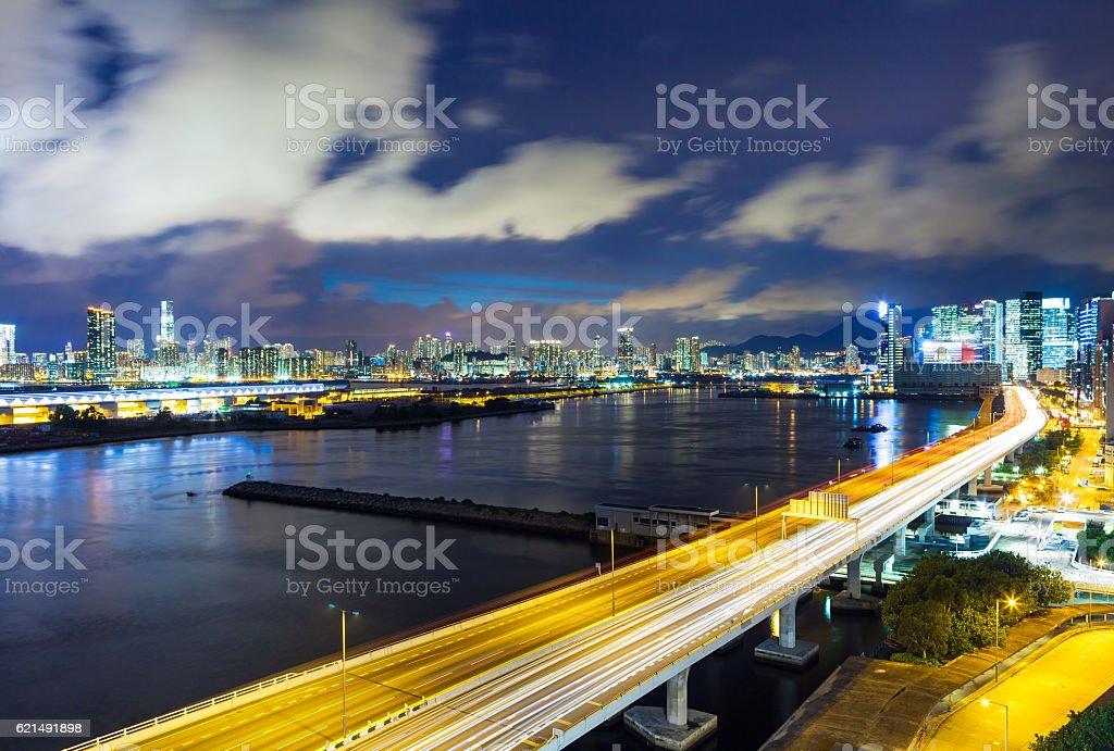 Hong Kong dans la nuit  photo libre de droits