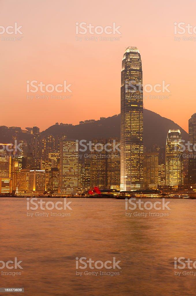 Hong Kong at sunset royalty-free stock photo