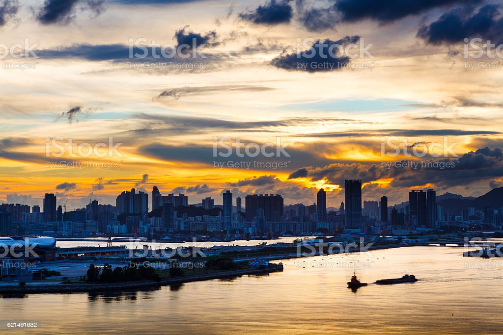 Hong Kong al tramonto foto stock royalty-free